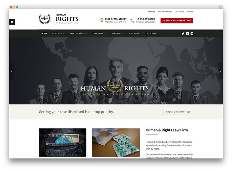 Human Rights is a great WordPress theme for building a legal website