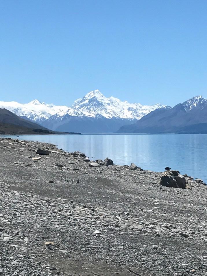 Lake Pukaki and view of Mount Cook