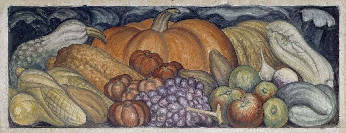 Detroit Industry, east wall - Michigan Fruits and Vegetables, Diego Rivera, 1932-33, fresco