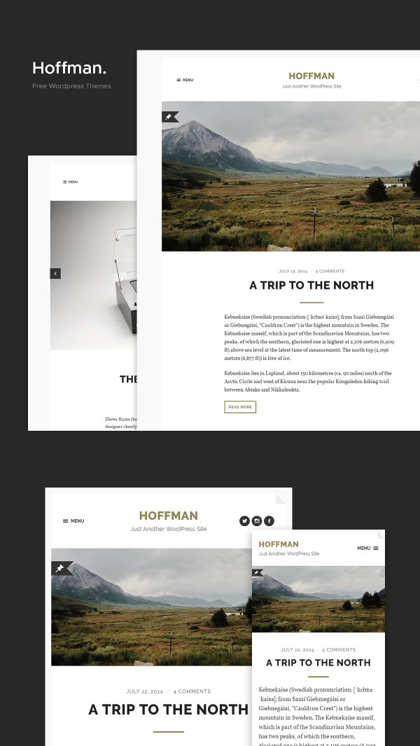 Hoffman: A Stylish and Minimal Free WordPress theme for Bloggers.