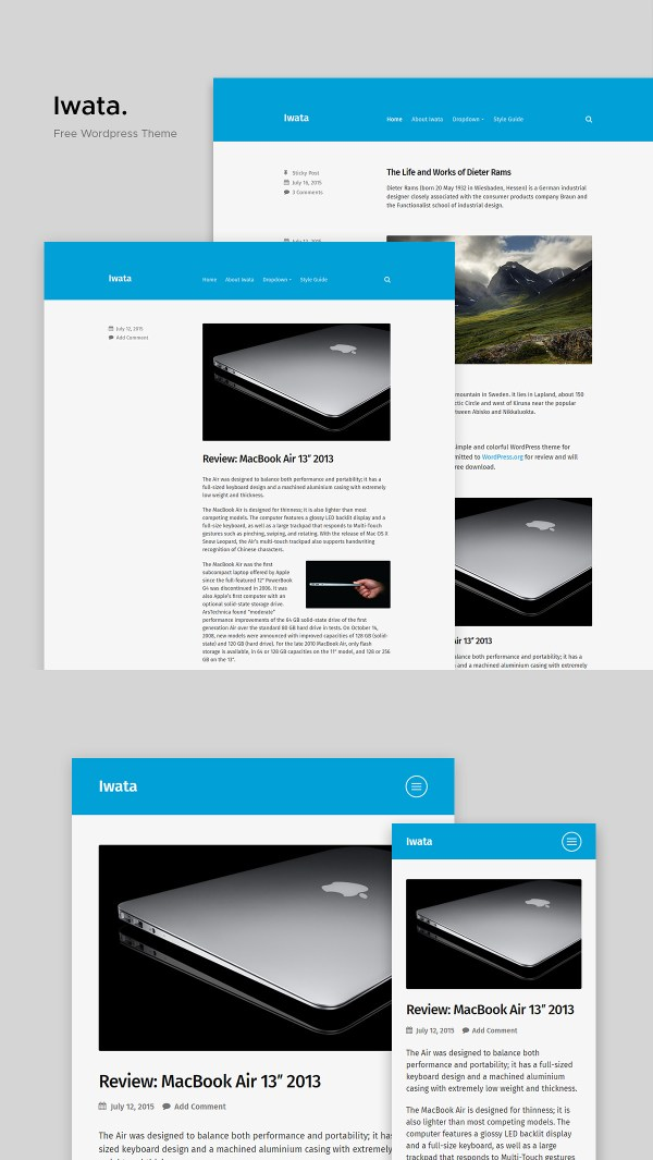 Iwata: A Clean and Lightweight Free WordPress Blog Theme