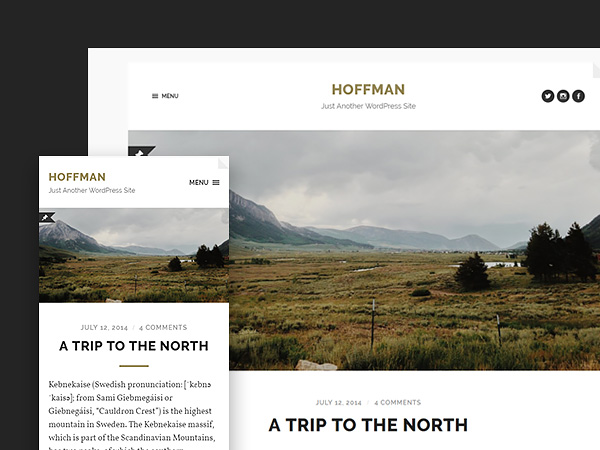 Hoffman - A Stylish and Beautifully Minimal Free WordPress theme for Bloggers.