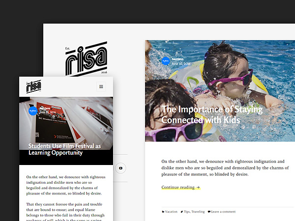 Risa Personal Blog Free Wordpress Theme