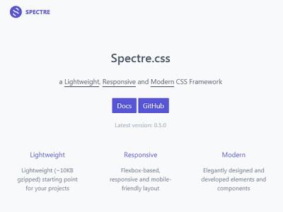 Spectre CSS: A Lightweight CSS framework Based on Flexbox