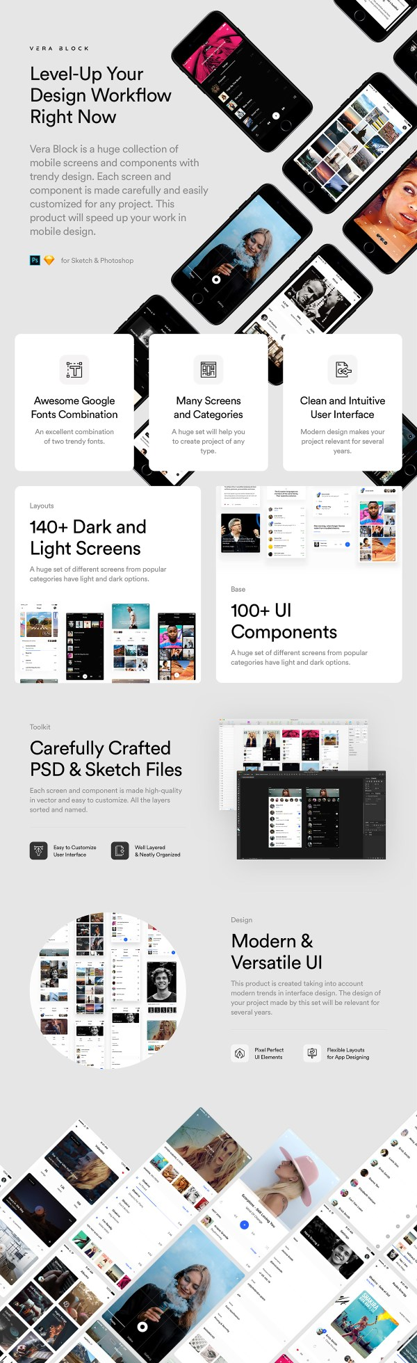 Vera Block: A Huge Set of Free UI Components and App Screens