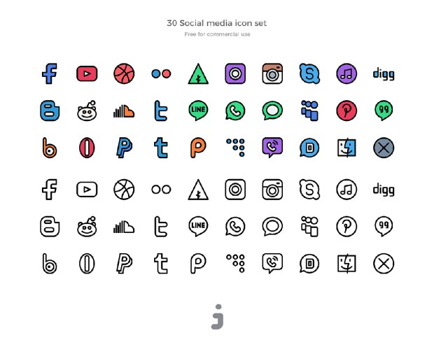30 Free Social Media Icons
