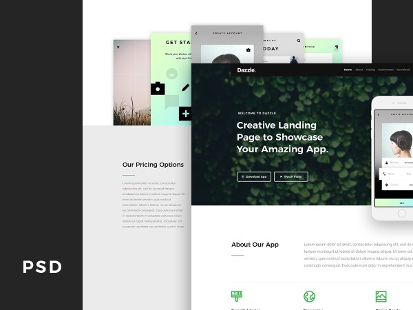 Dazzle - App Landing Page Free PSD Template 01