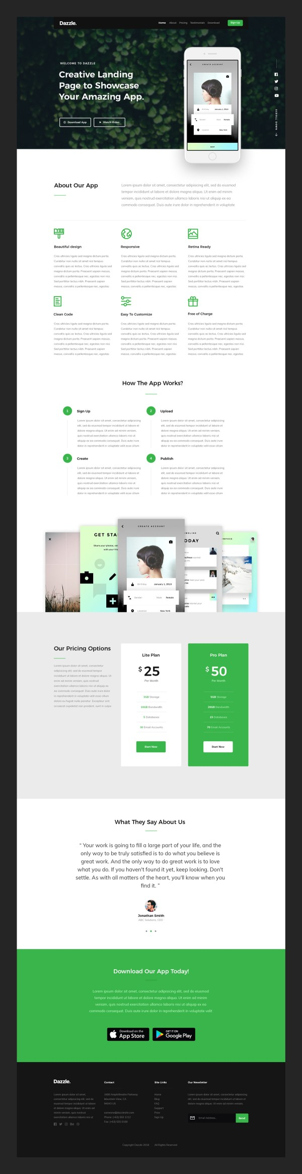 Dazzle - App Landing Page Free PSD Template 02