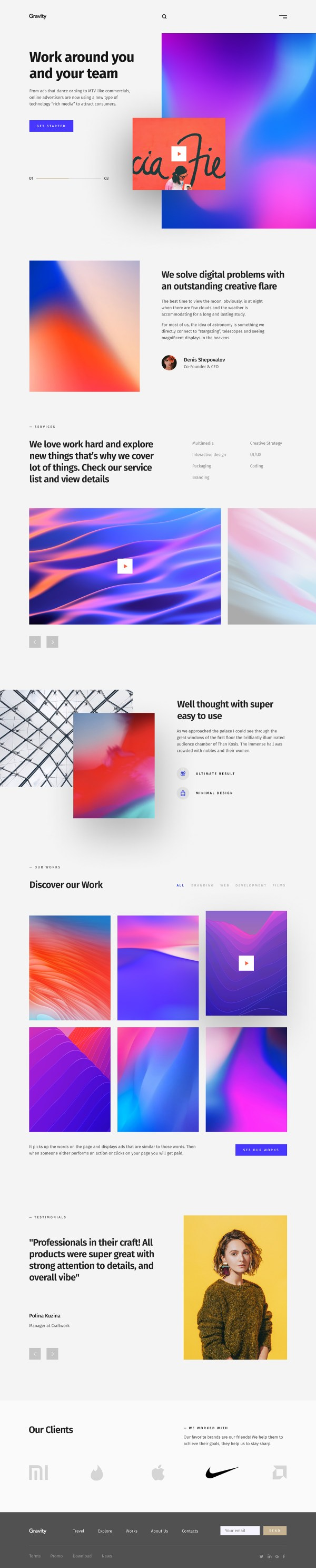 Gravity - Agency Portfolio Free Website Template - Home