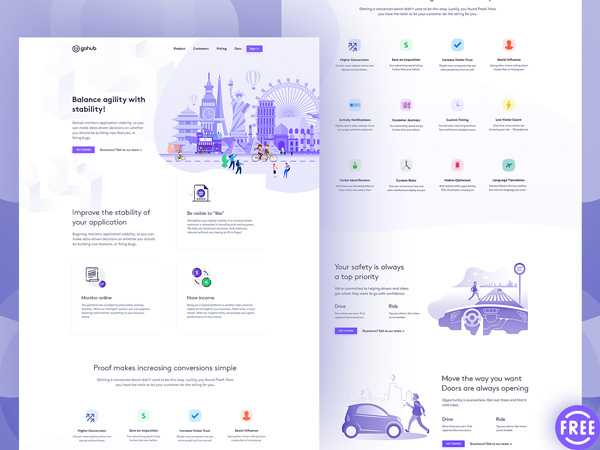 GoHub - Free PSD Landing Page