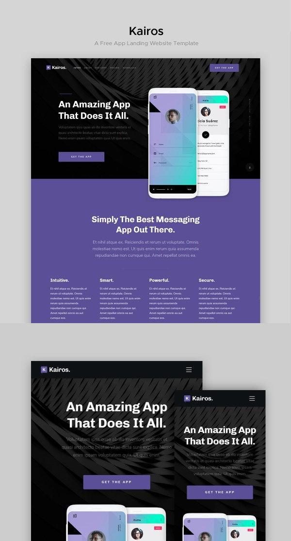 Kairos - Free App Landing Page Website Template