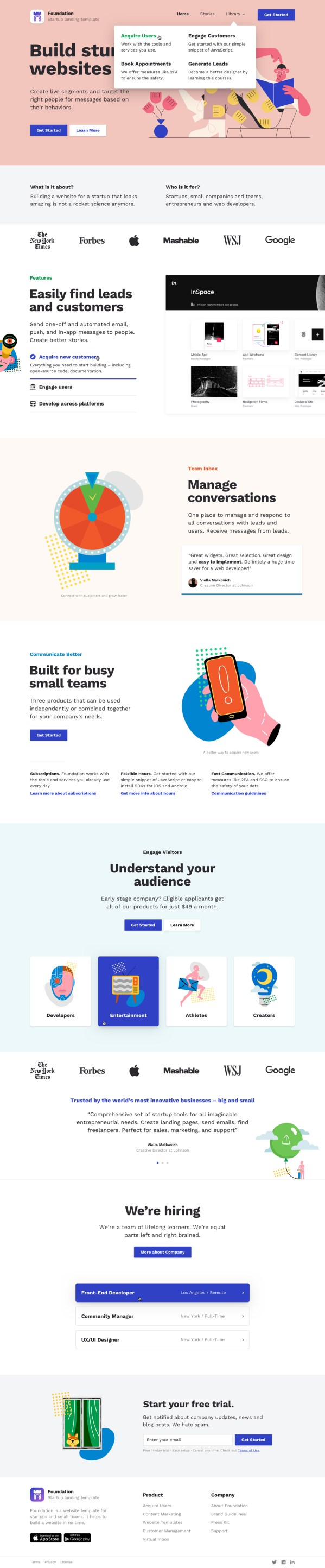 Foundation: Free Landing Page Template for Sketch App