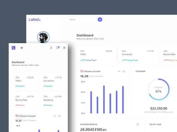 LabelUI - Free Responsive Admin Dashboard Template 01