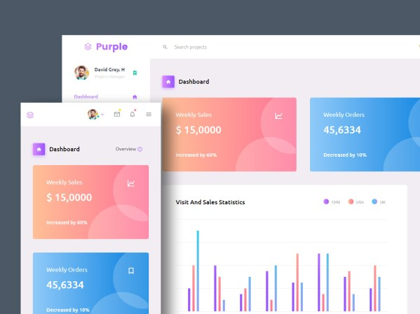 Purple - Free Responsive Admin Dashboard Template 01