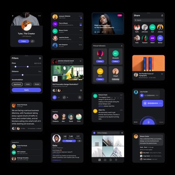Social UI Kit - dark mode