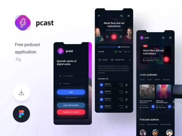 Pcast – Mobile Podcast App Free UI-Kit