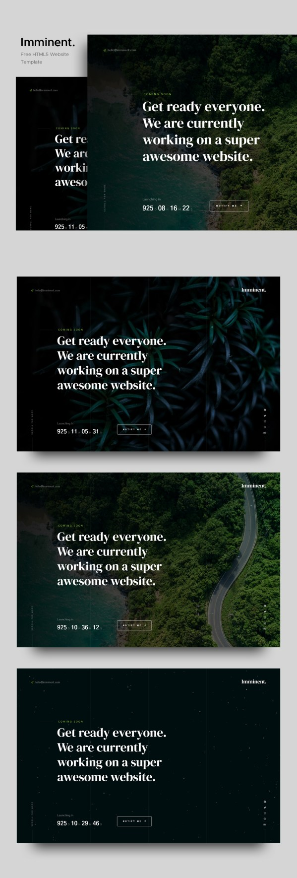Imminent — Stylish Free Coming Soon Website Template