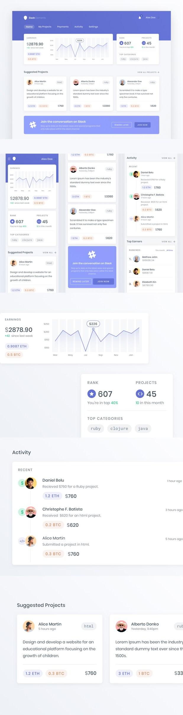 Crypto Dashboard UI Freebie
