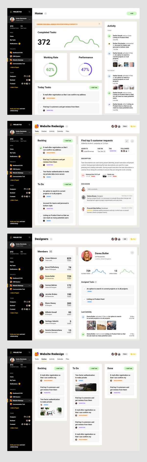 Project Management Tool Free UI Kit