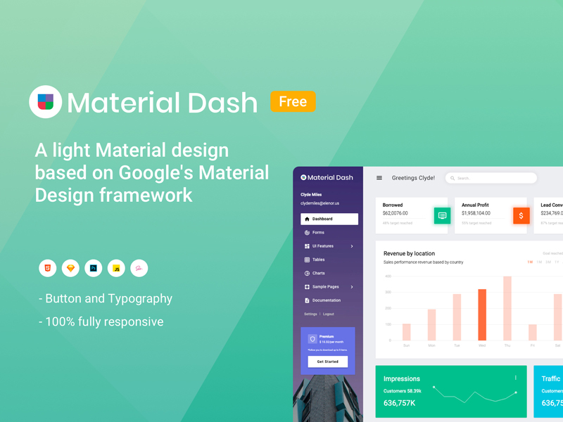 Material Admin Free Material Design Admin Template Theme Ui