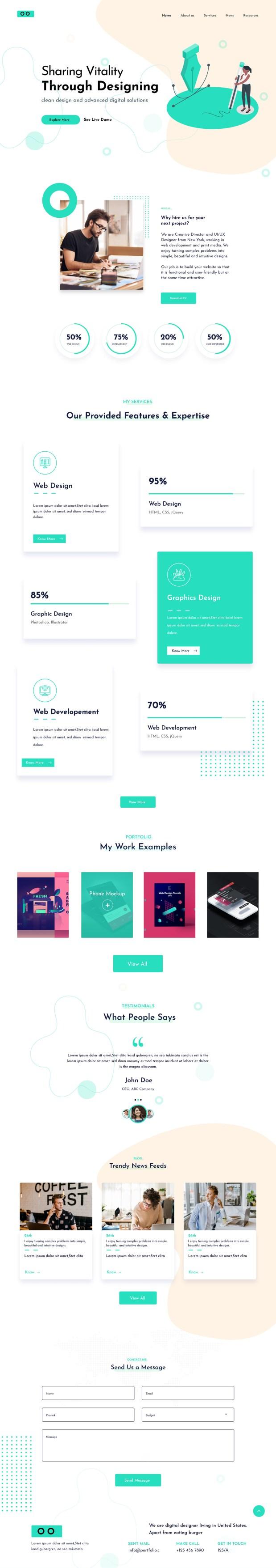 Free Agency Web Design for Adobe XD