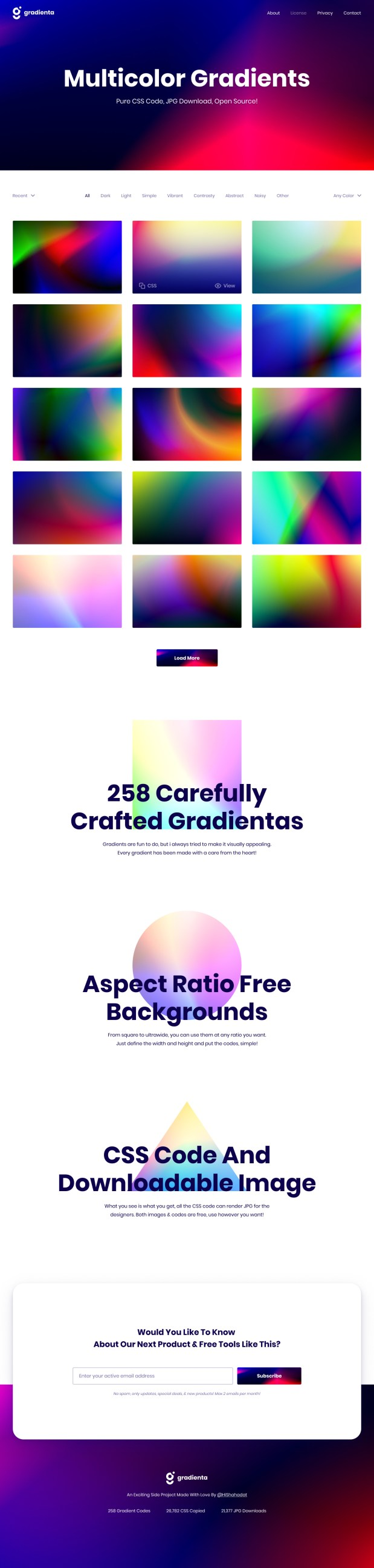 Gradienta - Free Multicolor CSS Gradients
