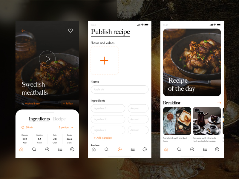 Recipe App Free UI Kit for Adobe XD