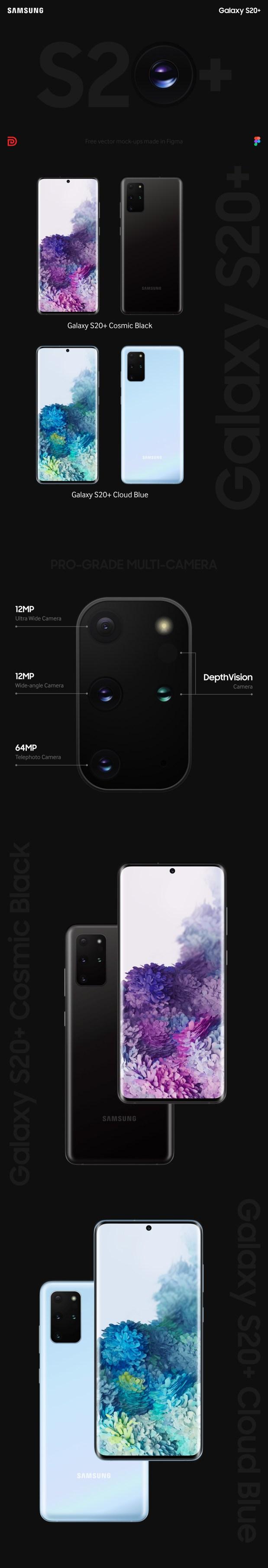 Galaxy S20+ Free Mock-ups Made in Figma
