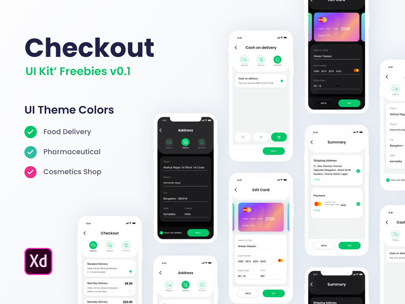 Checkout Free UI Kit for Adobe XD