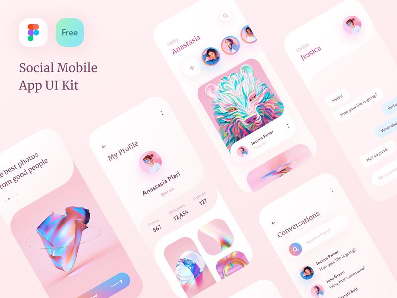 Free Social App UI Kit for Figma