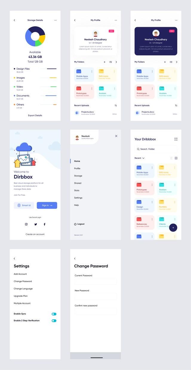 Dribbox — Online Cloud Storage UI Kit for Figma