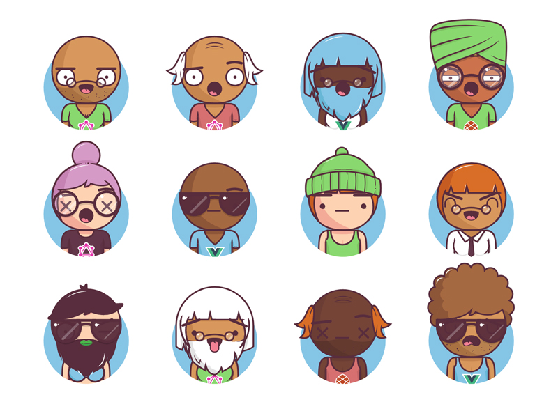 Big Heads — Characters Free Illustrations