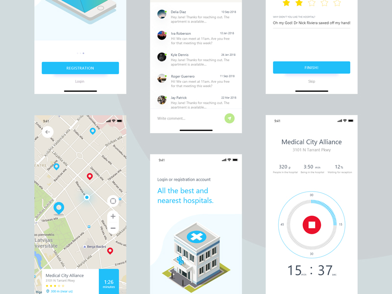 Hospadviser Free UI Kit for Sketch