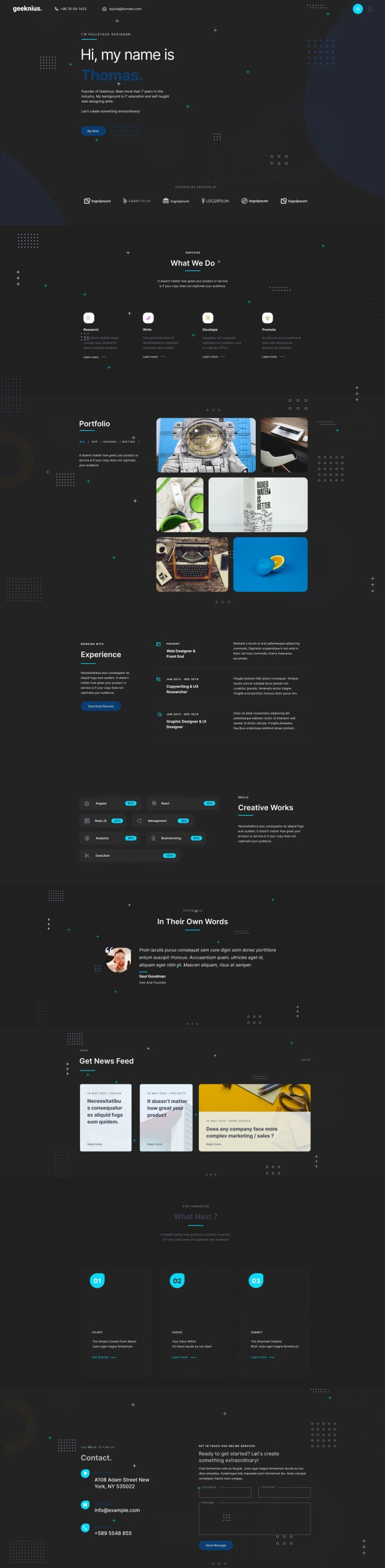 Geeknius — Creative Resume Website Template for Figma - Dark