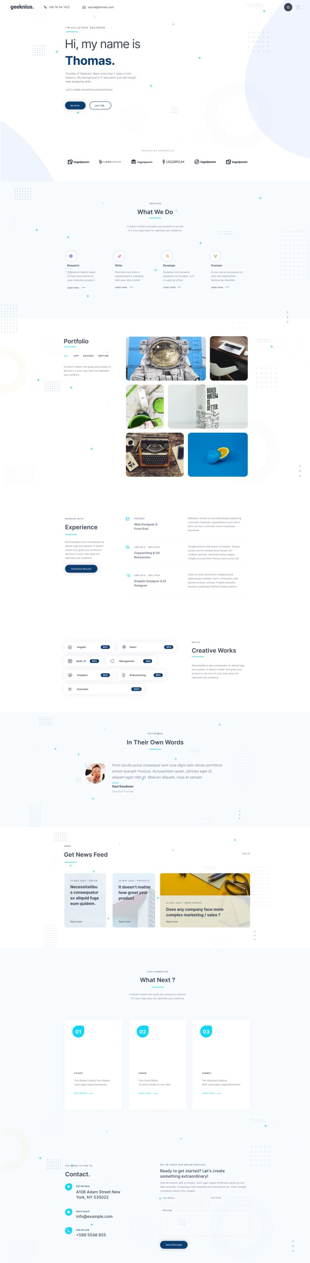 Geeknius — Creative Resume Website Template for Figma - Light
