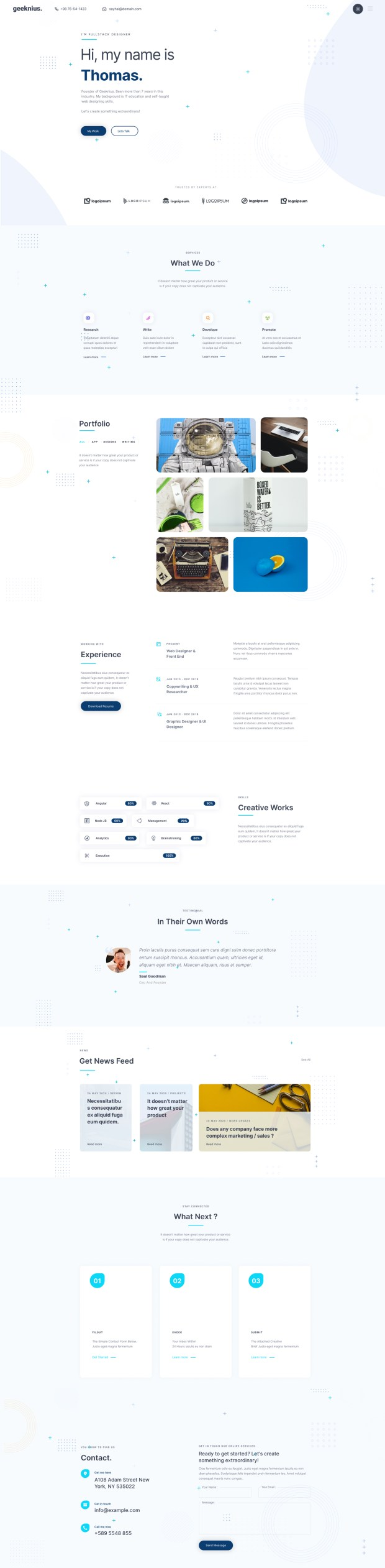 Geeknius — Creative Resume Website Template for Figma - Light