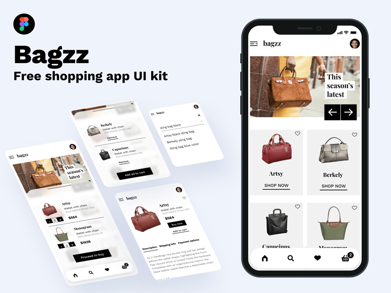 Bagzz — Shopping App Free UI Kit for Figma