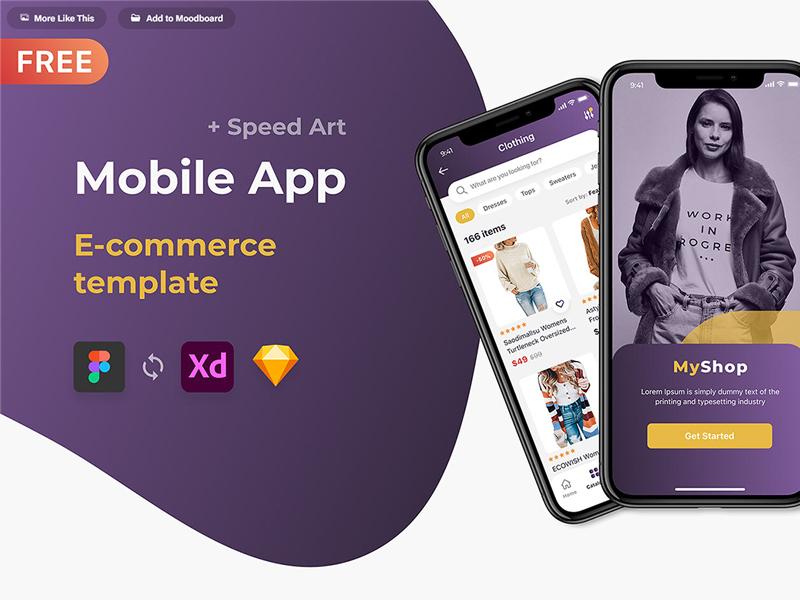 Free Mobile App ECommerce UI Kit for Figma
