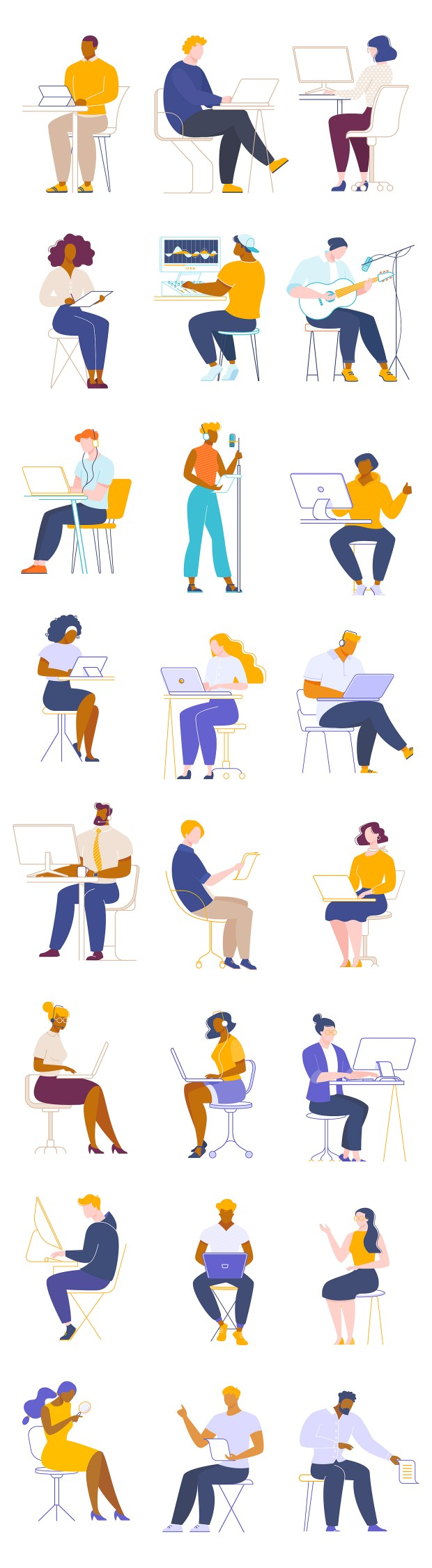 People Working Free Illustrations