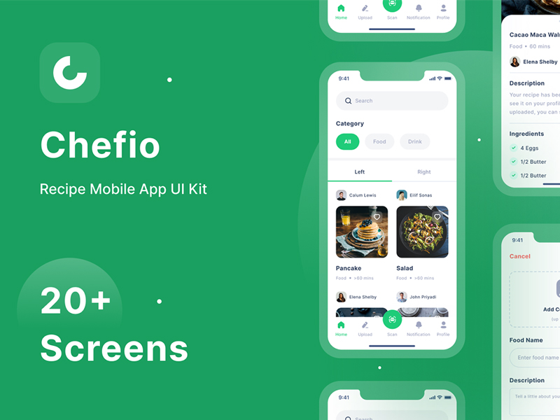 Chefio — Recipe App Free UI Kit