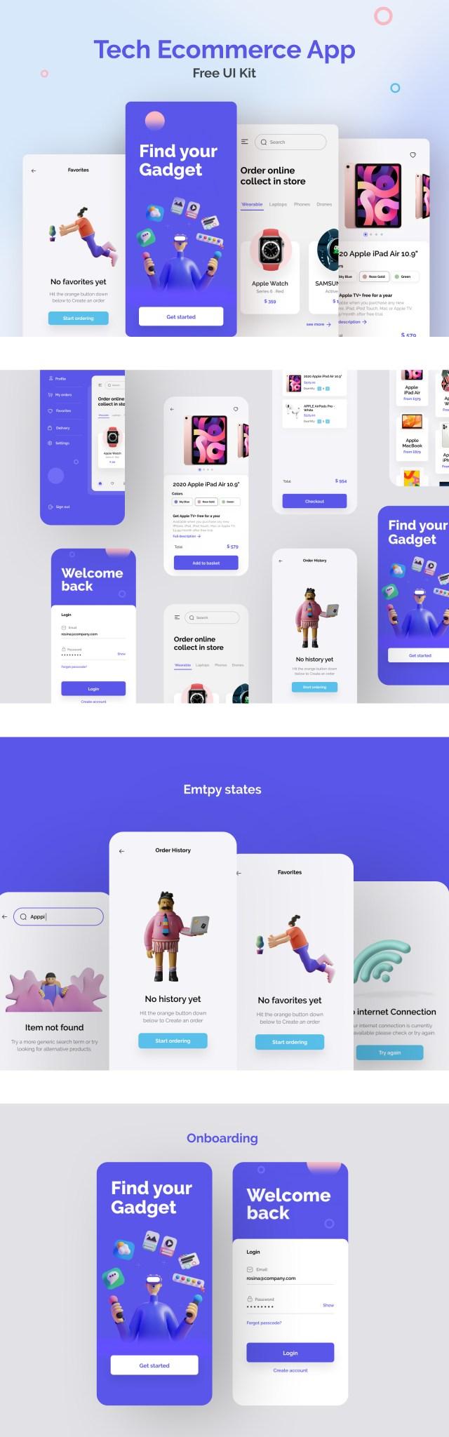 Tech E-commerce App Free UI Kit for Figma
