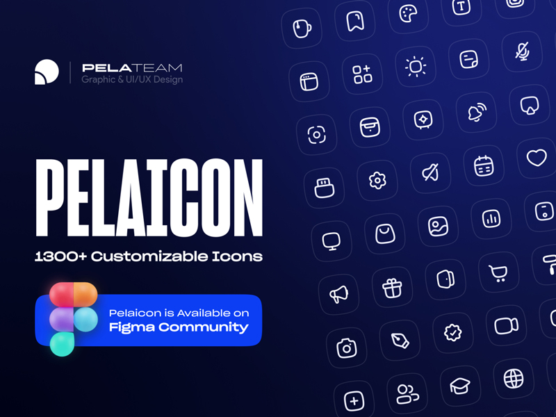 Pelaicon — 1300+ Fully Customizable & Free Icons for Figma