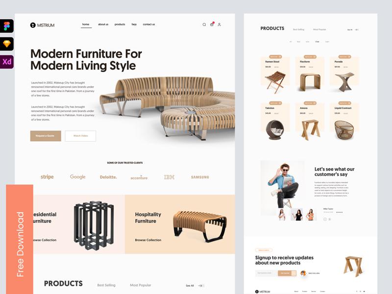 Mistrium — Free Online Furniture Shop Landing Page