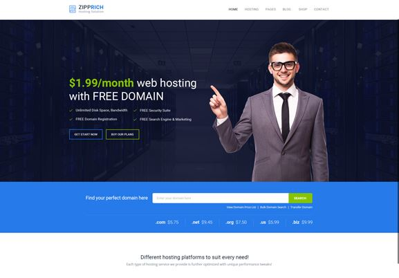 ziprich-10 Best Hosting WordPress Themes With Full WHMCS Manager Integration
