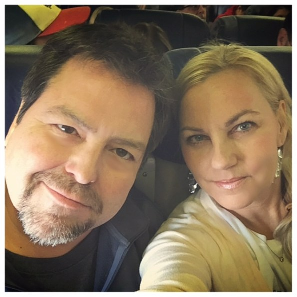Rick Najera and Susie Albin-Najera on Southwest Airlines flight to Cancun