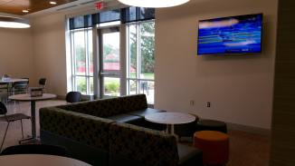 There are two lounge areas with lounge-style seating and TVs, making great relaxation areas.