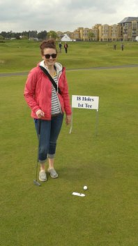 Christa golfing the Old Course