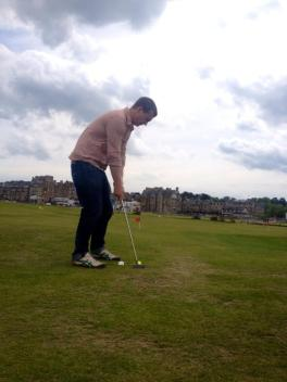 Jared golfing at the Old Course