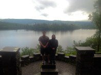Cris and Andrew's book jacket photo, overlooking Loch Awe