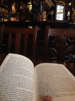 Reading in the pub for J's birthday